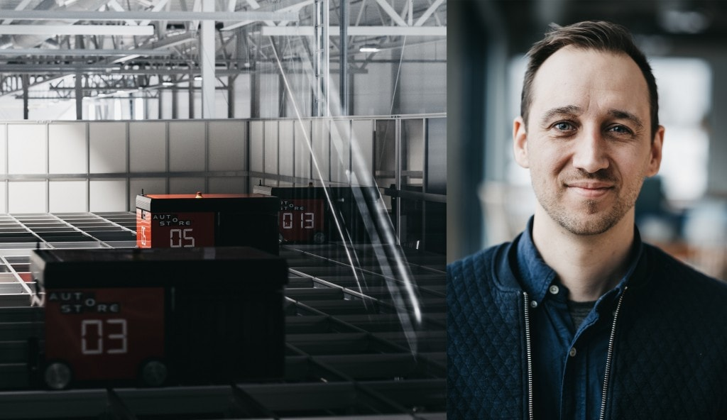 AutoStore robots working in the dark and portrait of Niklas Poulsen