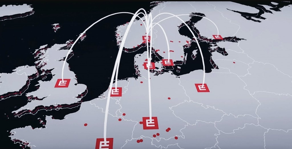 A map of Europe med the Element Logic logo in each country they are present.
